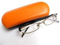 Eye Glasses. Modern designer eye glasses isolated on white Stock Photo