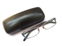 Eye Glasses. Along with its box isolated on white royalty free stock photos