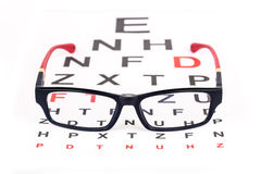 Eye glasses for better vision. Stylish pair of glasses over ophthalmology Snellen chart used for eye testing Royalty Free Stock Photo