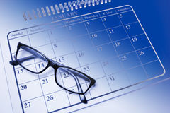 Eye Glasses on Calendar Royalty Free Stock Images