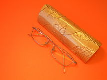 Eye glasses and case Royalty Free Stock Photos