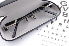 Eye glasses and eye chart. Eye glasses in a black case and eye chart Stock Image