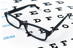 Eye glasses and eye chart Stock Photos