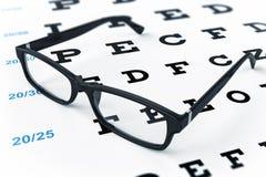 Eye glasses and eye chart. 3d image Stock Photos