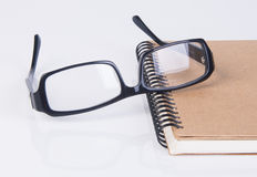 Eye glasses. eye glasses with book on the background Stock Image