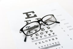 Eye glasses on eyesight test chart background Royalty Free Stock Photography