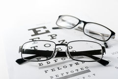 Eye glasses on eyesight test chart background royalty free stock images