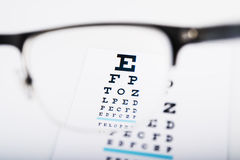 Eye glasses focus on exam chart Royalty Free Stock Image
