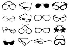 Eye glasses icons set Stock Image