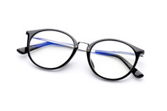 Eye glasses with isolated on white background. Eye glasses with black frame isolated on white background stock photography