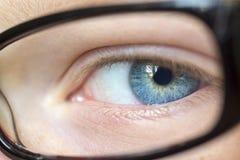 Eye in glasses Stock Image