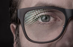 Eye and glasses - man`s face close up macro Stock Images
