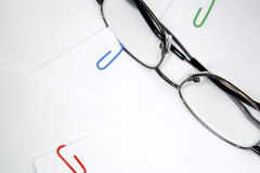 Eye Glasses with Paper Clips Stock Photos