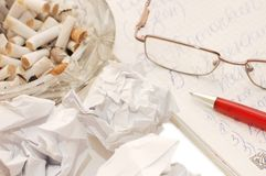 Eye glasses and a pen on sheet Royalty Free Stock Photo