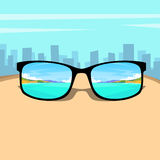 Eye Glasses With Summer Sea, Beach Picture Vacation Rest Dream Concept Over Big City Background Stock Photos
