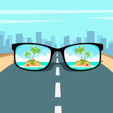 Eye Glasses With Summer Sea Island, Beach Picture Vacation Rest Dream Concept Road Big City Background Royalty Free Stock Image