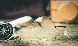 Eye glasses and traveler equipment Royalty Free Stock Photos