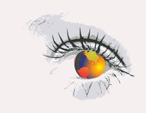 Eye  with globe Royalty Free Stock Images