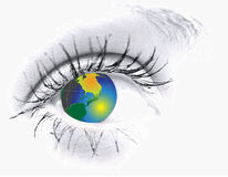 Eye  with globe Stock Images