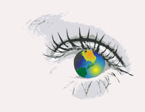Eye  with globe Stock Photo