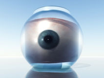 Eye In Goldfish Bowl. This is a isolated eye in a goldfish bowl stock photography