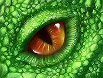 Eye of a green dragon. Hand drawn eye and skin of a fantasy creature - green dragon. Digital art stock illustration