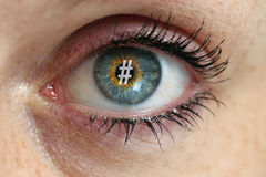 Eye with hashtag in the pupil concept.  Royalty Free Stock Photos