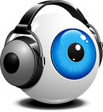 Eye with headphones Stock Photo