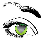 Eye with heart. Vector green eye with heart Royalty Free Stock Image