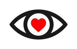 Eye red heart icon. Simple vector filled flat eye black line icon and red heart icon solid pictogram isolated on white background.romantic look concept vector illustration