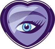 Eye in a heart Stock Images