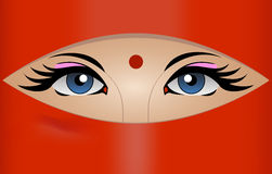 Eye of Hiduist Woman. Illustration of Hinduism Woman Eyes Stock Photos