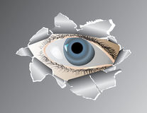 Eye in the hole. Vector illustration Stock Images