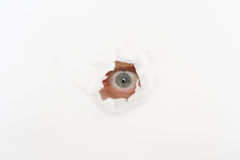 Eye in the hole of white paper. Eye of eavesdropper in the hole of white paper Royalty Free Stock Images
