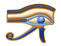Eye of Horus. Illustration of the eye of Horus, an antique egyptian religious symbol, in gold and precious stones. Isolated on white background Stock Images