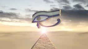 Eye of horus rotating above a piramid stock video