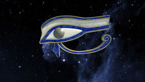 Eye of horus rotating in the universe stock footage