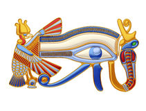 Eye of Horus V2. Illustration of the eye of Horus, an antique egyptian symbol, surrounded by the figures of the vulture and the cobra, in gold and precious Royalty Free Stock Images