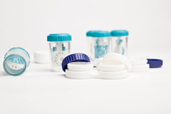 Eye Hygiene Care - set of contact lens cases Royalty Free Stock Photo