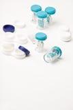 Eye Hygiene Care - set of contact lens cases Stock Photos