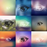 Eye icon on blurred background Royalty Free Stock Images