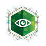 Eye icon floral plants pattern green hexagon button vector illustration
