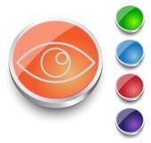 Eye icon - vector. Round Button Collection. Stock Image