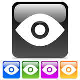 Eye Icons: Eye symbols on Glossy rounded squares. Royalty Free Stock Photos
