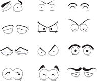 Eye icons. A series of human eyes with and without eyebrows displaying a range of different emotions stock illustration