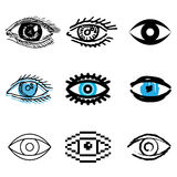Eye icons set. Blue eye icons vector set stock illustration
