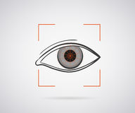 Eye identification. Icon with red laser light royalty free illustration