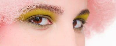 Eye il primo piano di trucco - verde dentellare della parrucca degli occhi di colore marrone Immagini Stock Libere da Diritti