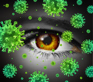 Eye Infection. As a contagious ocular disease transmitting a virus with human vision spreading dangerous infectious germs and bacteria during cold or flu Stock Images