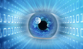 Eye of information. The eye that represents the vision of the information. Binary code in the lateral of the image